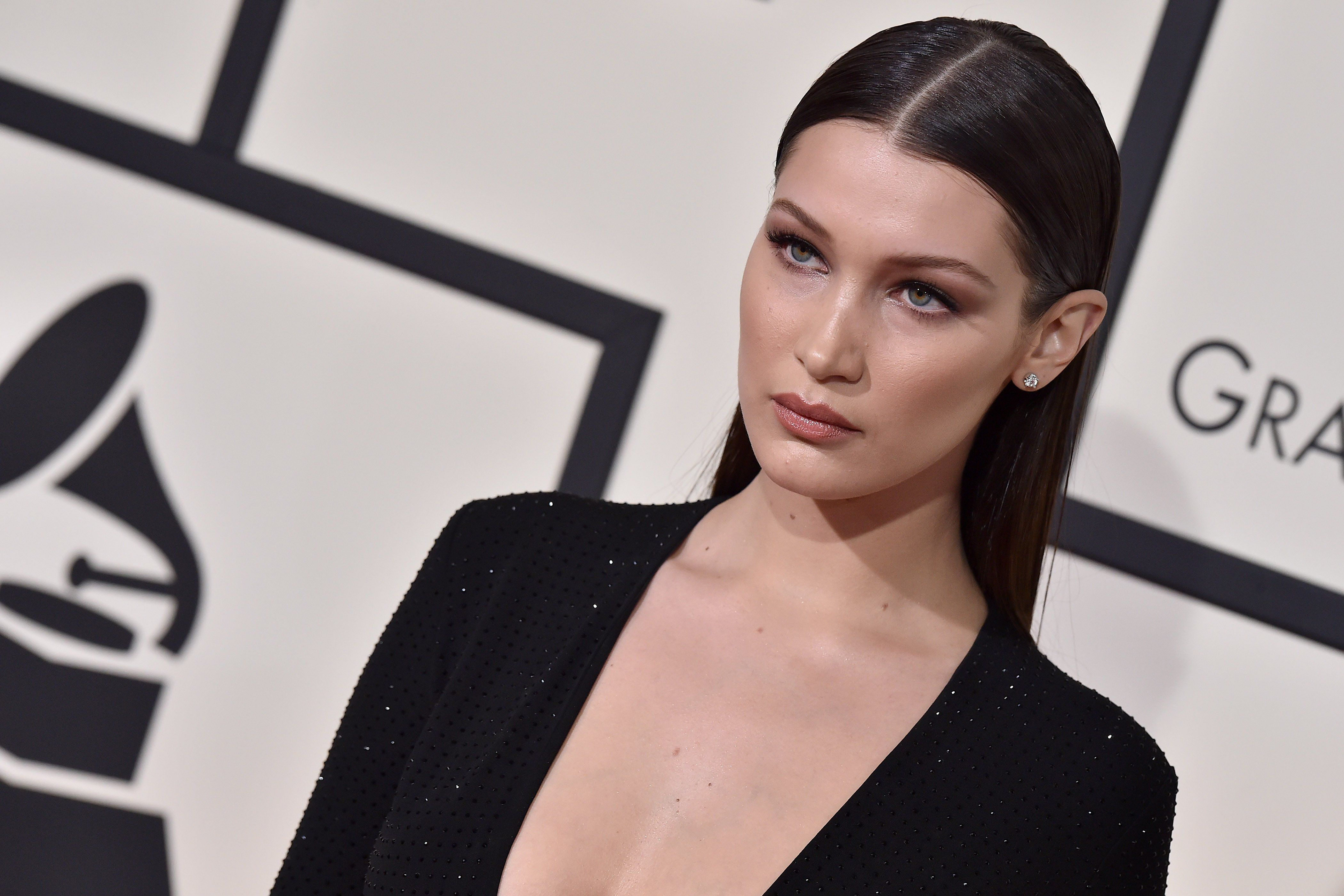 LOS ANGELES, CA - FEBRUARY 15: Model Bella Hadid arrives at The 58th GRAMMY Awards at Staples Center on February 15, 2016 in Los Angeles, California. (Photo by Axelle/Bauer-Griffin/FilmMagic)